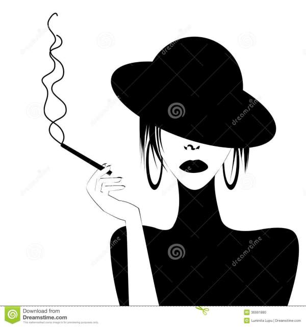 Abstract Portrait Of Woman Smoking Stock Illustration - 36991880