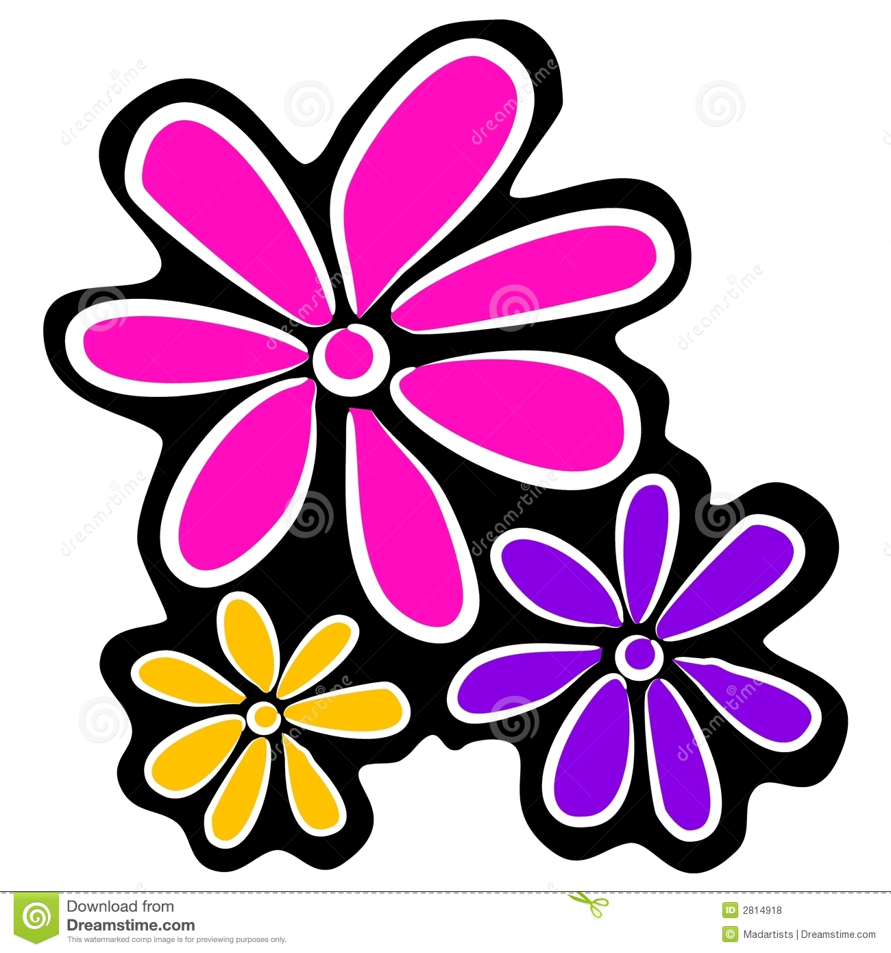 hight resolution of abstract retro flowers clipart