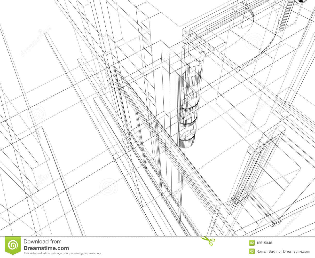 Abstract Scetch Architectural Construction Royalty Free
