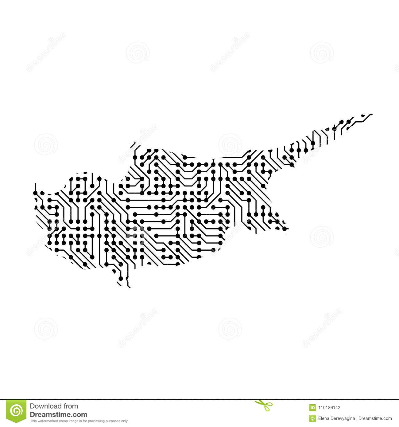 Abstract Schematic Map Of Cyprus From The Black Printed