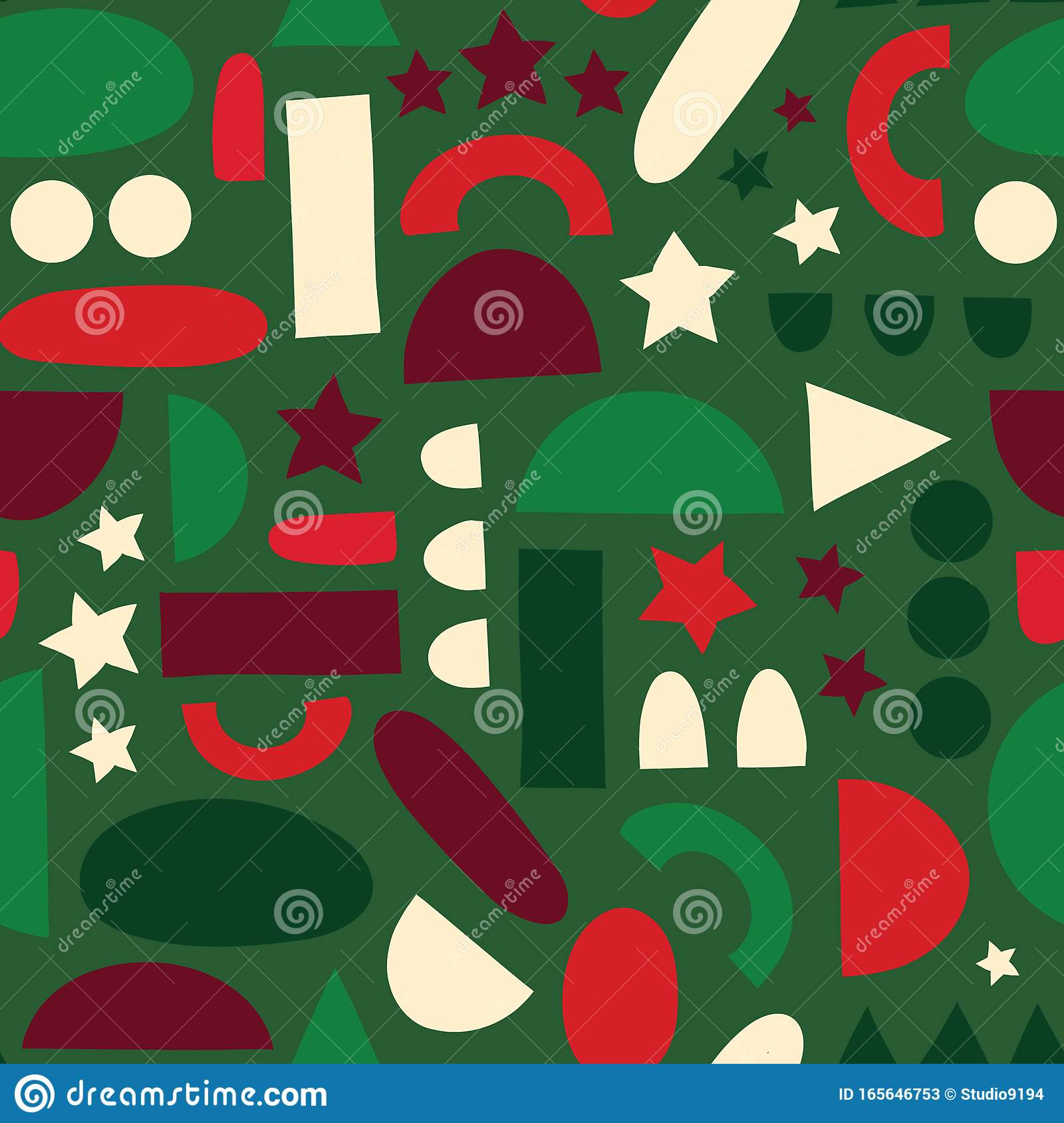 Abstract Shapes Background In Christmas Colors Seamless