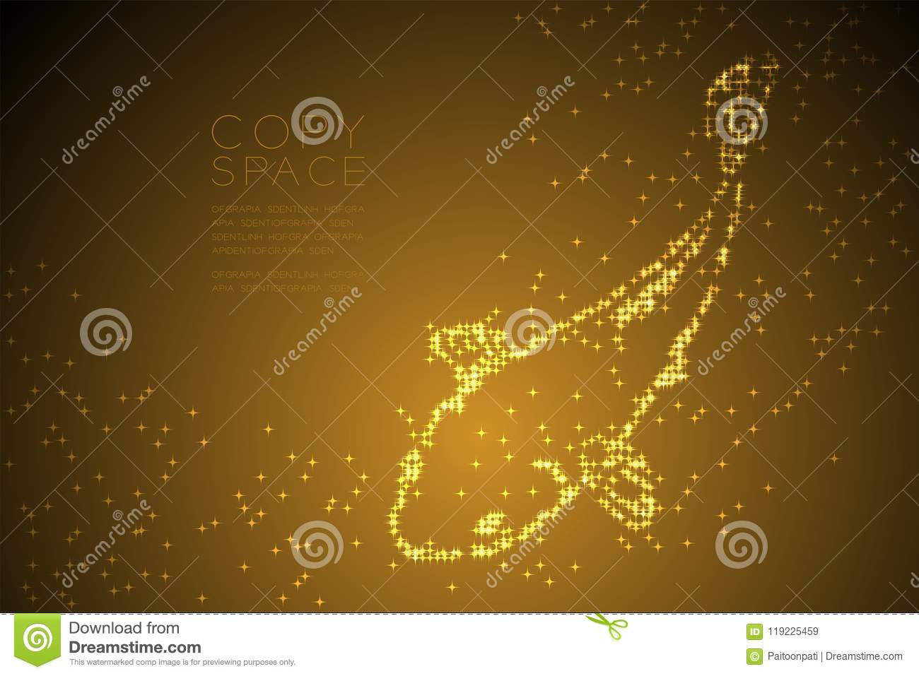 hight resolution of abstract shiny star pattern carp or koi fish shape aquatic and marine life concept design