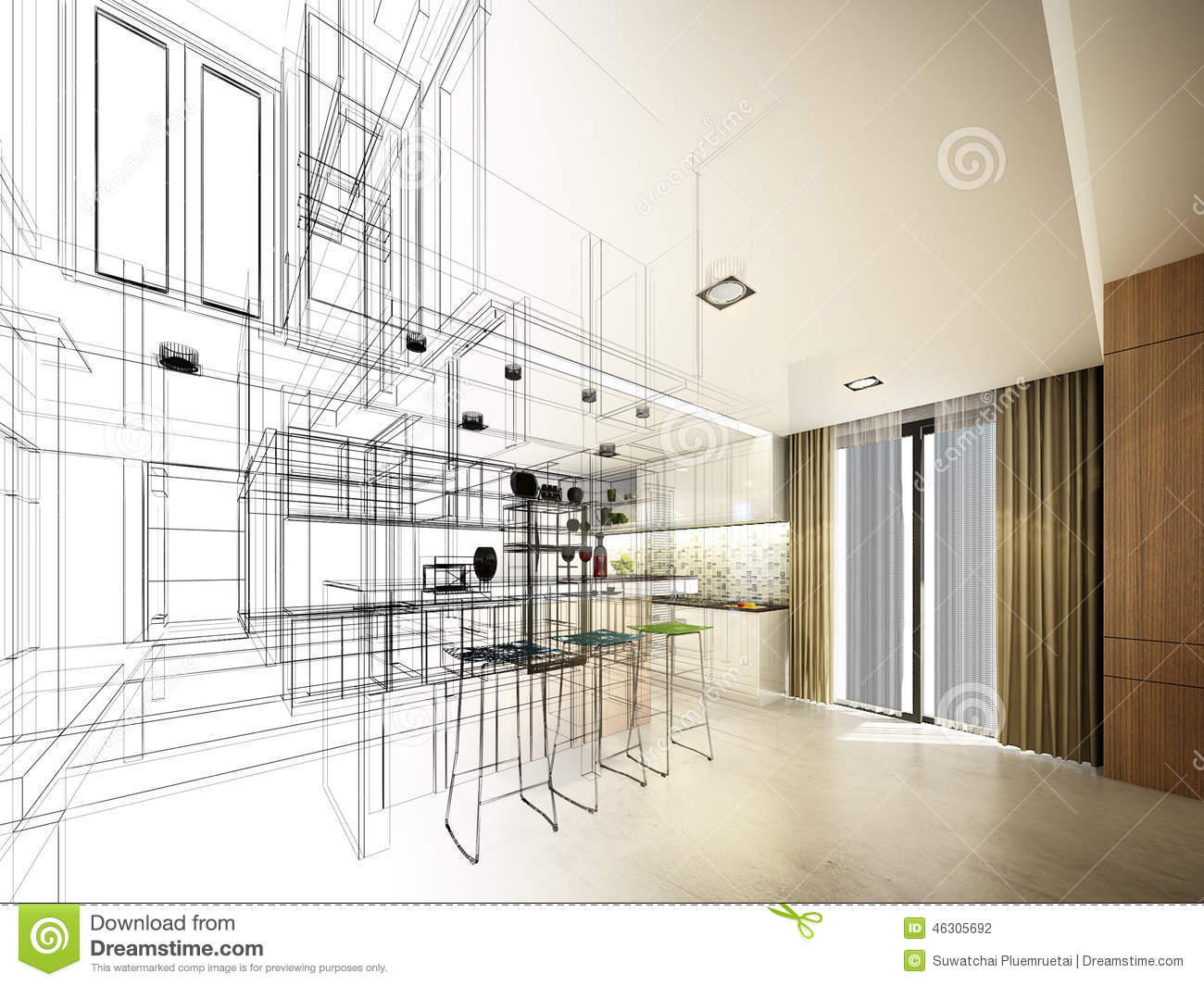 Sketch Abstract Drawing Of 3d Modern Corner Kitchen