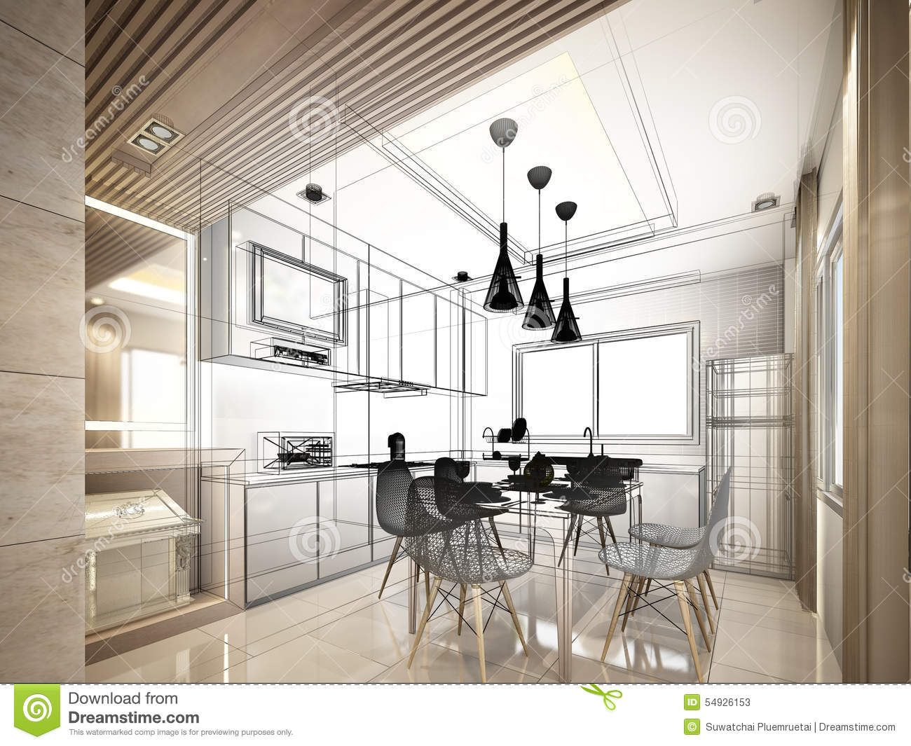 Abstract Sketch Design Of Interior Kitchen Stock