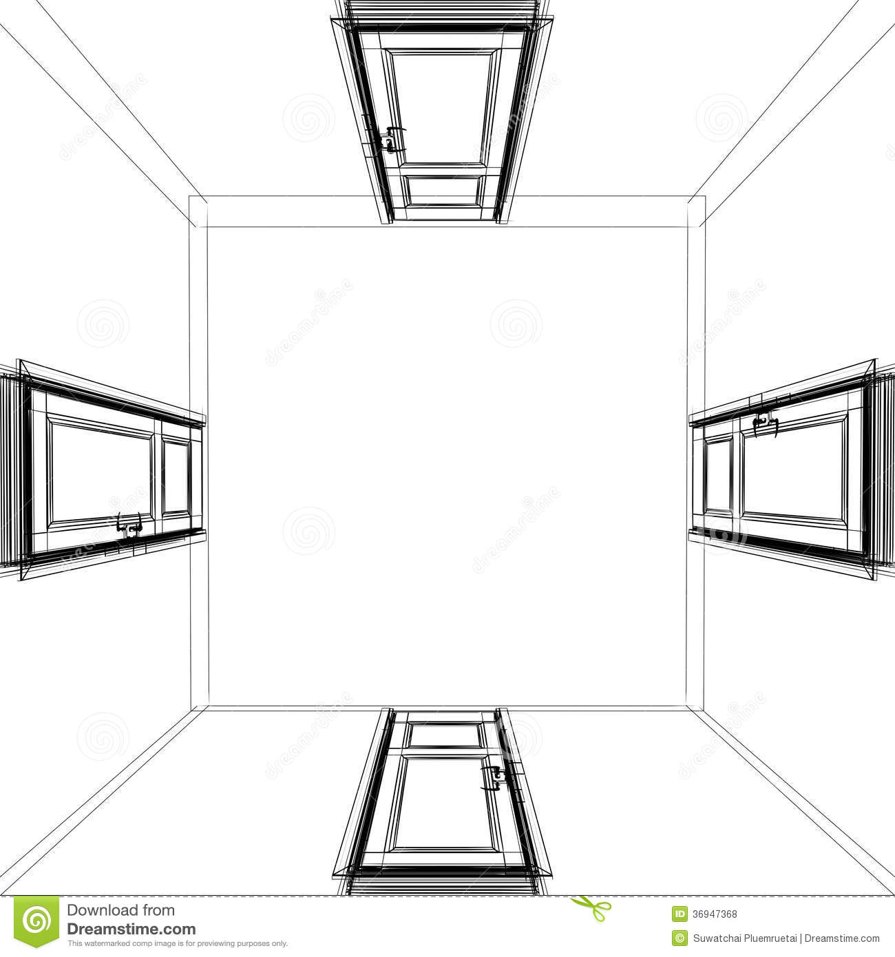 Abstract Sketch Design Of Top View Interior Room Stock