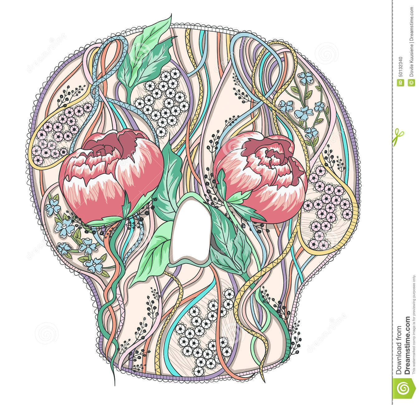 hight resolution of abstract skull with peony flowers