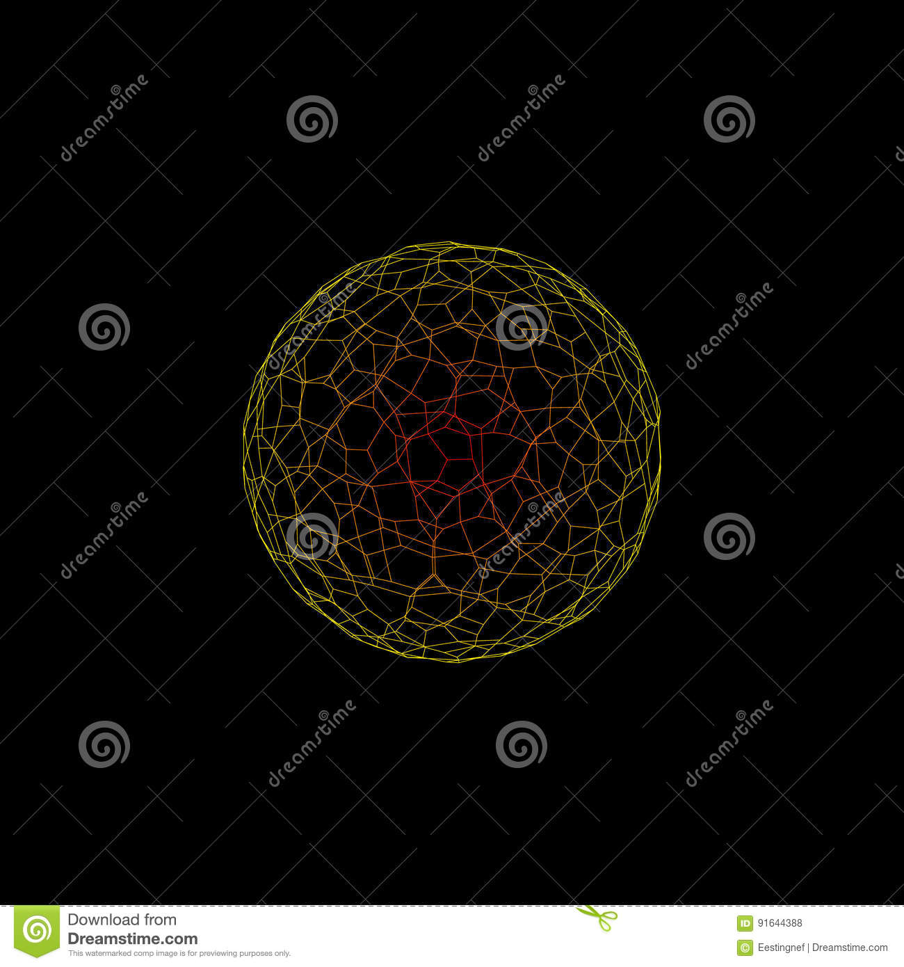 abstract sphere wireframe isolated