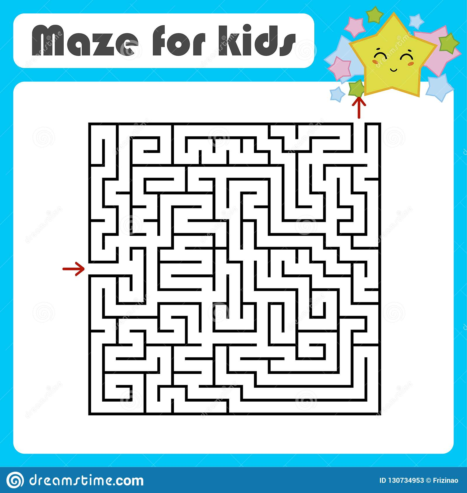 Abstract Square Maze Kids Worksheets Activity Page Game