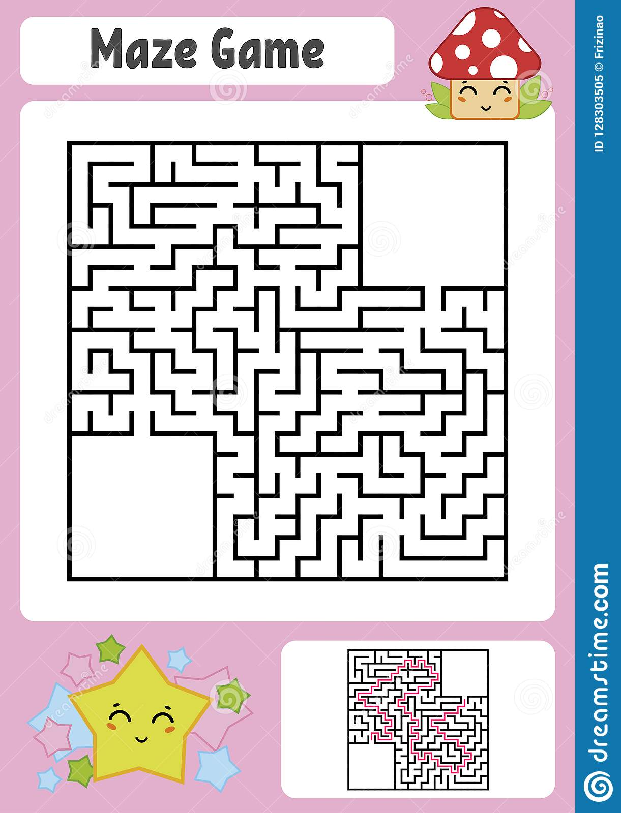 Abstract Square Maze Kids Worksheets Game Puzzle For