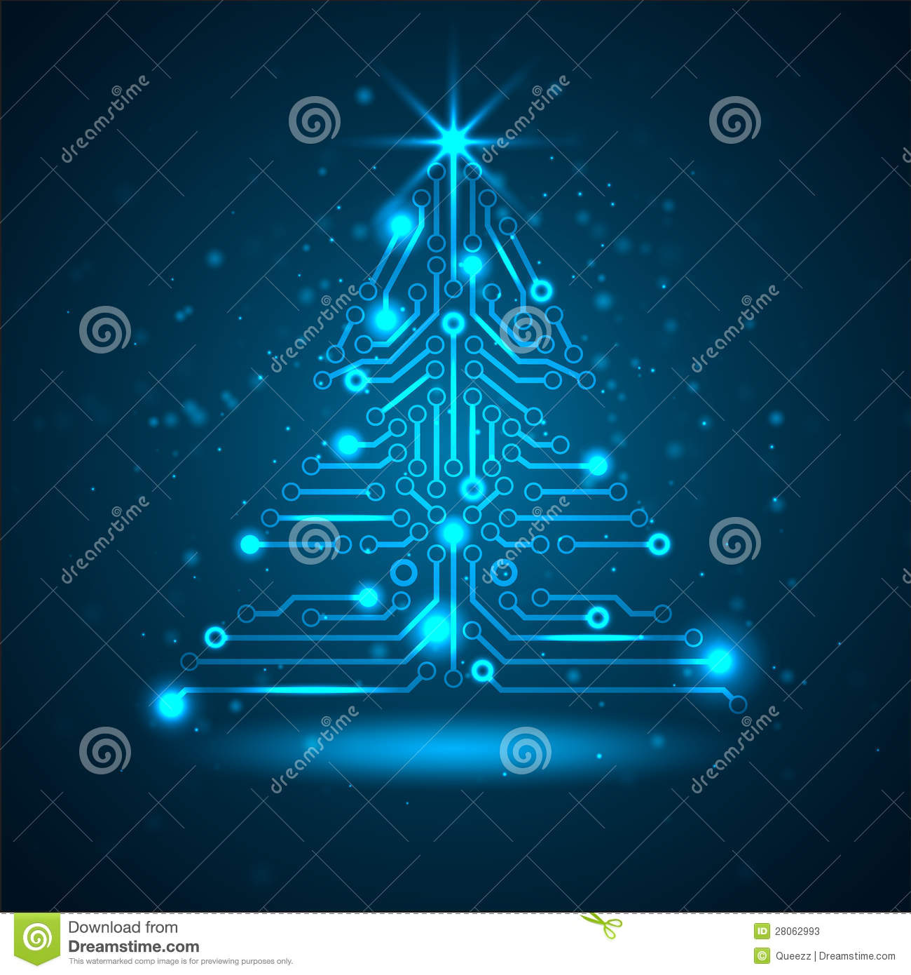 Abstract Technology Christmas Tree Stock Vector Image