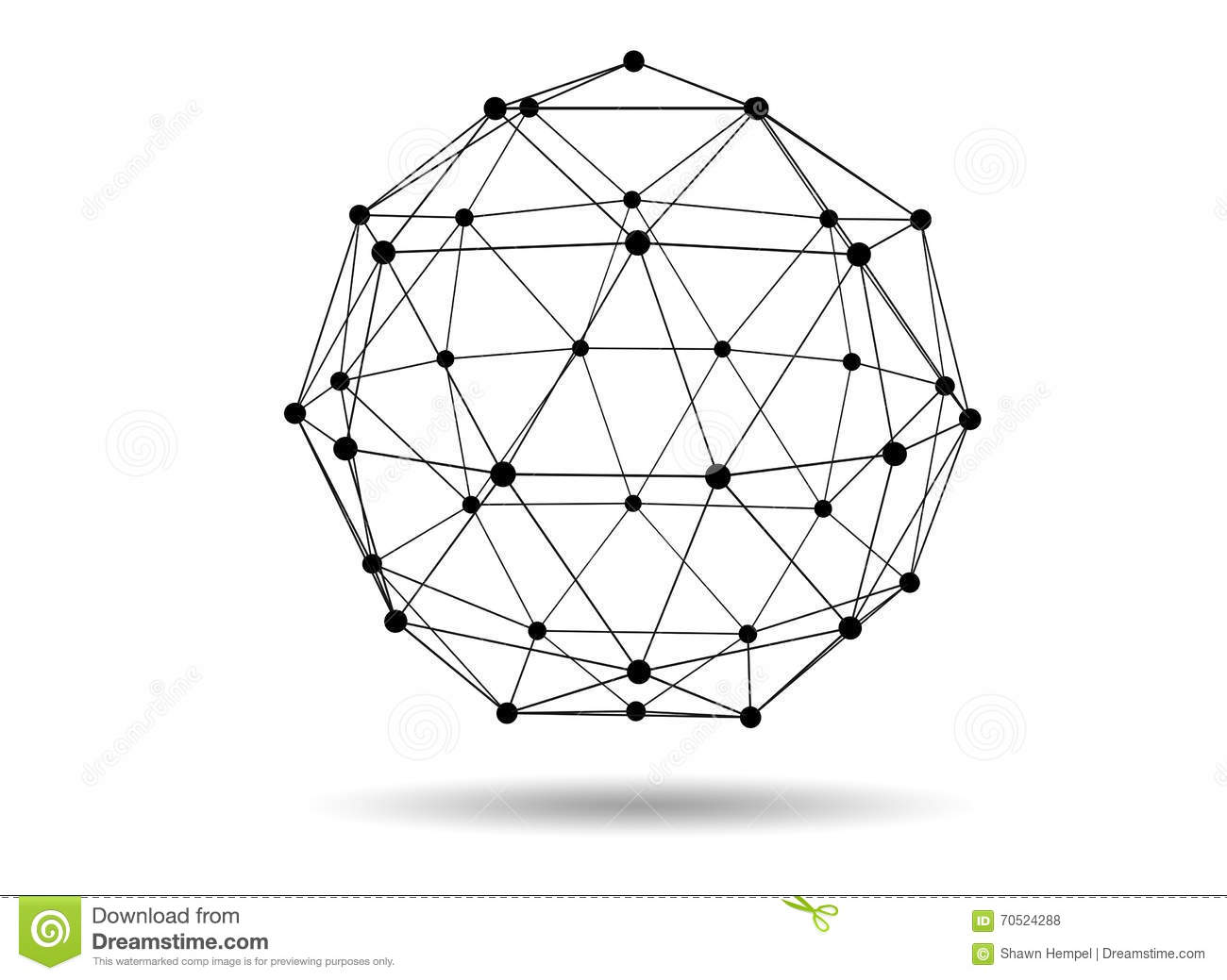 Abstract Three Dimensional Polygon Wireframe Network