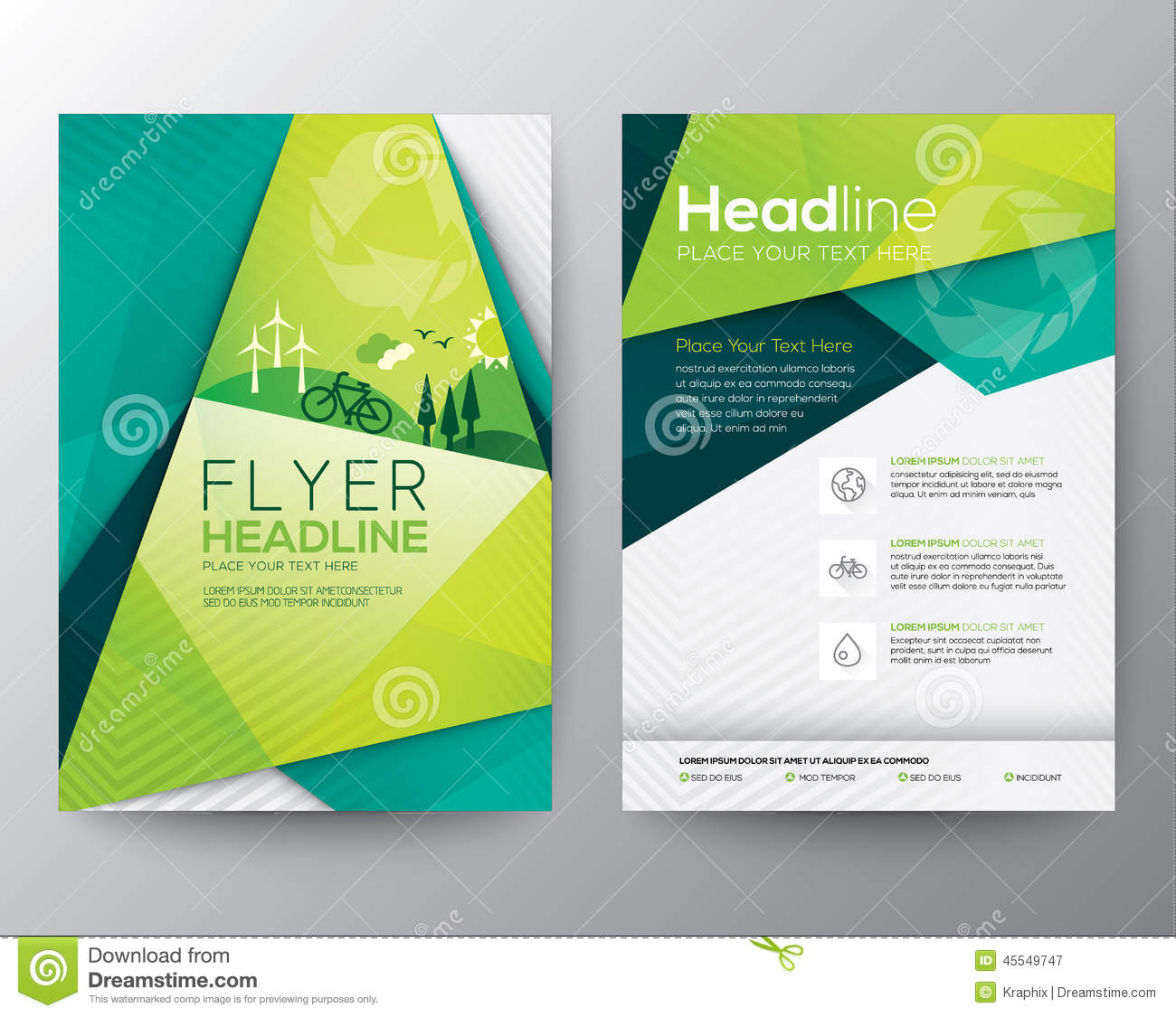 Abstract Triangle Flyer Design Template Stock Vector