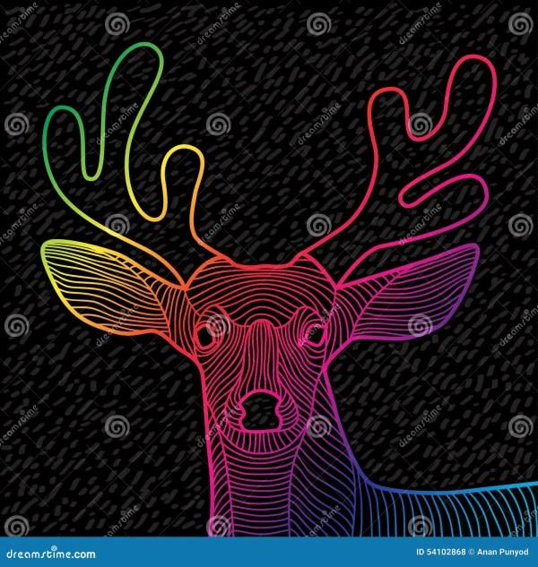 Deer Skull Line Art Vector Illustration Cartoon
