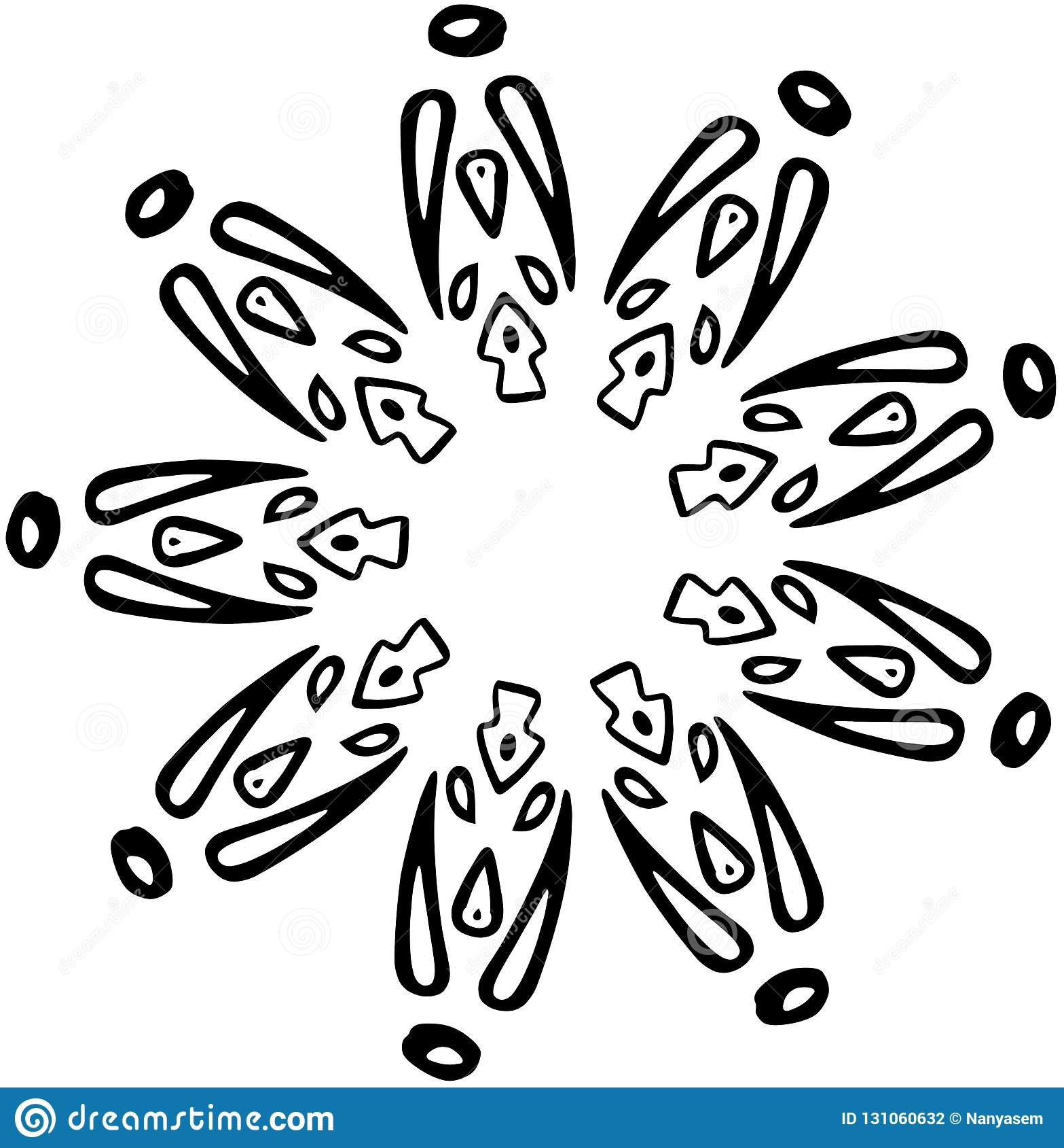Abstract Vector Snowflake Of Geometric Shapes Christmas
