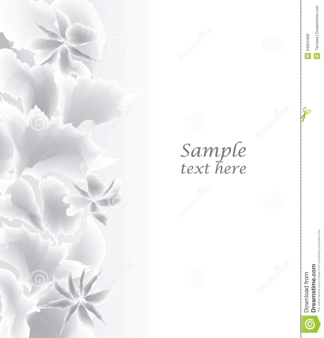 Abstract White Background Floral Border Royalty Free