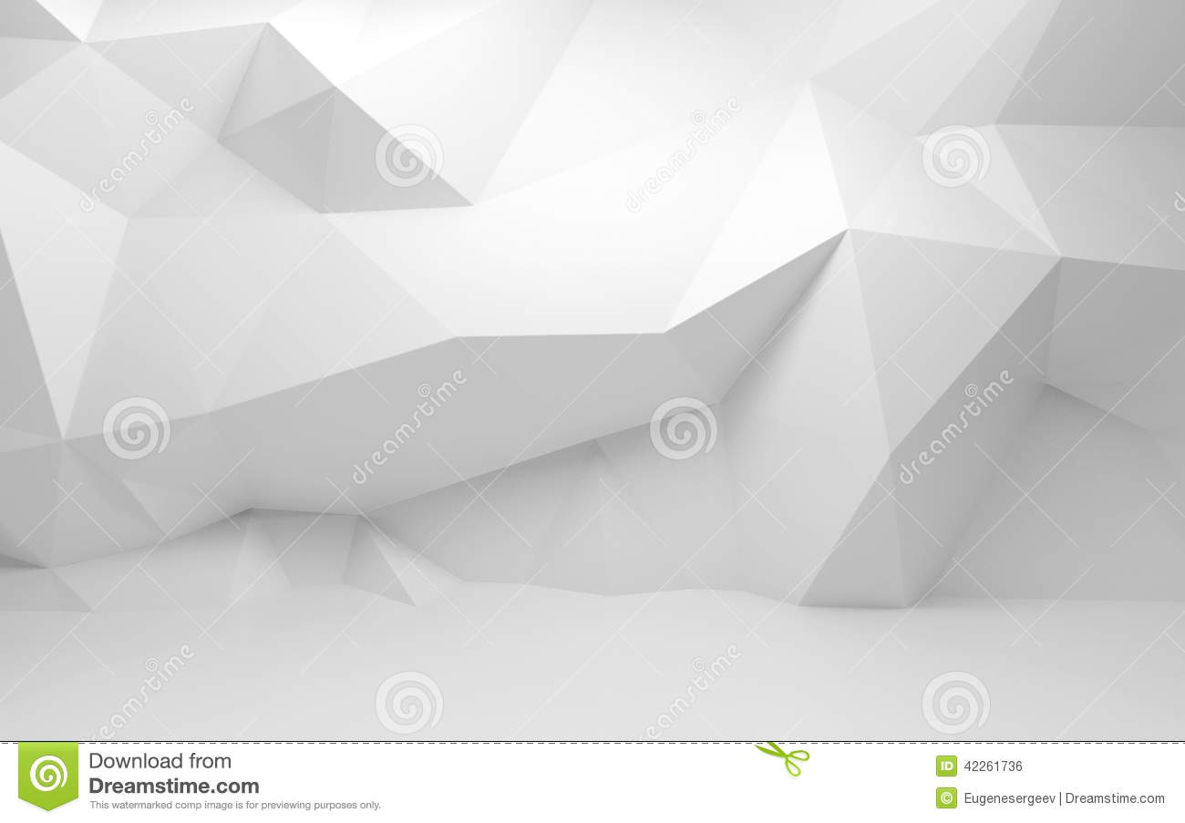 3d Wallpaper Futurist Abstract White 3d Interior With Polygonal Pattern On Wall