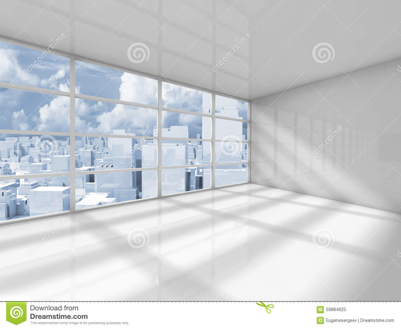 Abstract White Interior Of An Empty Office Room Stock