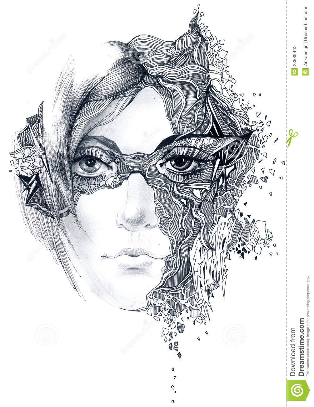 Beautiful Girl Fantasy Watercolor Wallpaper Abstract Woman Face Stock Illustration Illustration Of