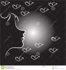 Abstract Woman Face With Butterflies Stock Vector