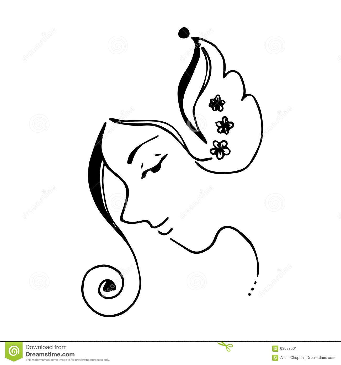 Abstract Women Face And Flowers Illustration Curve Line