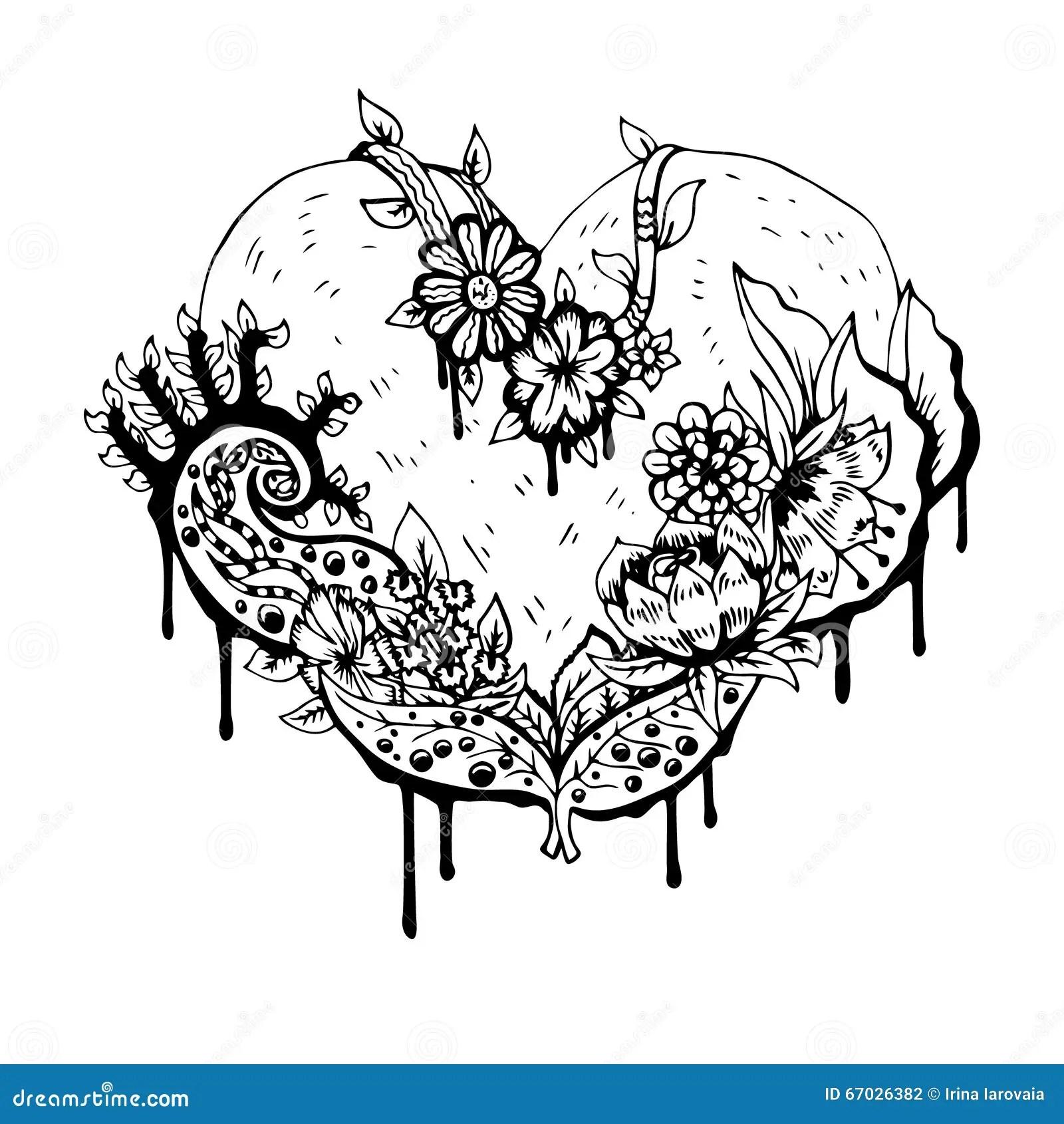 Abstract Zwart Wit Hart Vector Illustratie Vector