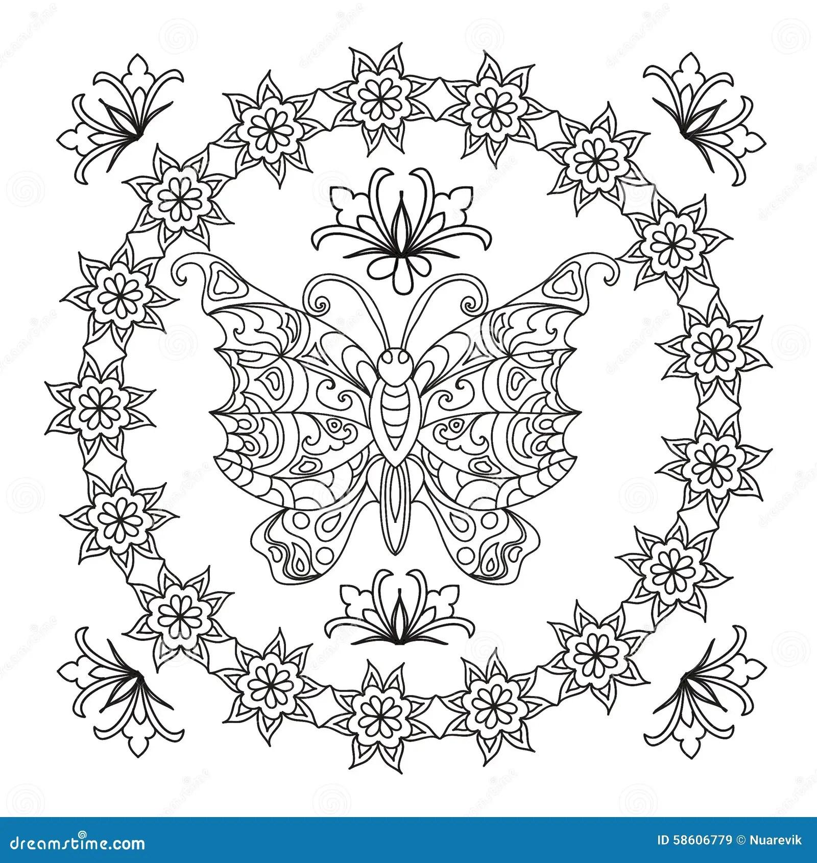 Abstrakt Mandalazentangle For Fjaril Stock Illustrationer