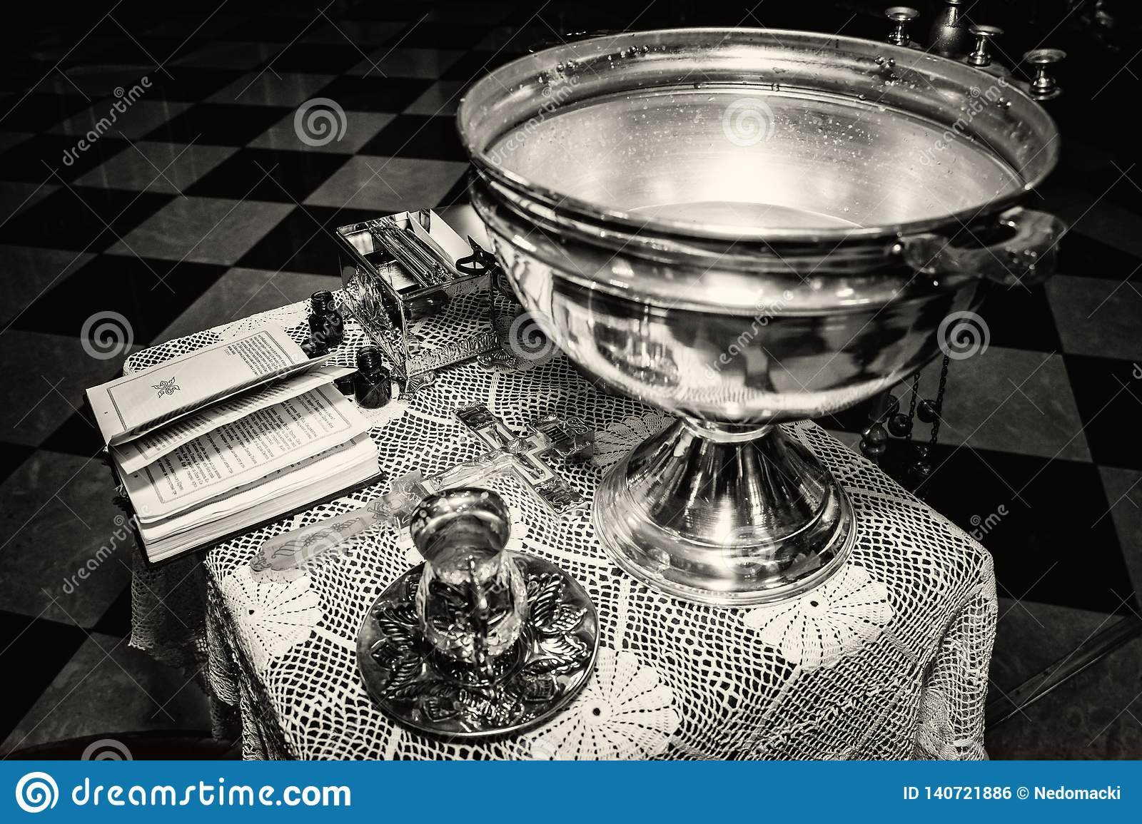 Accessories Of A Priest For Christian Baptism Stock Photo