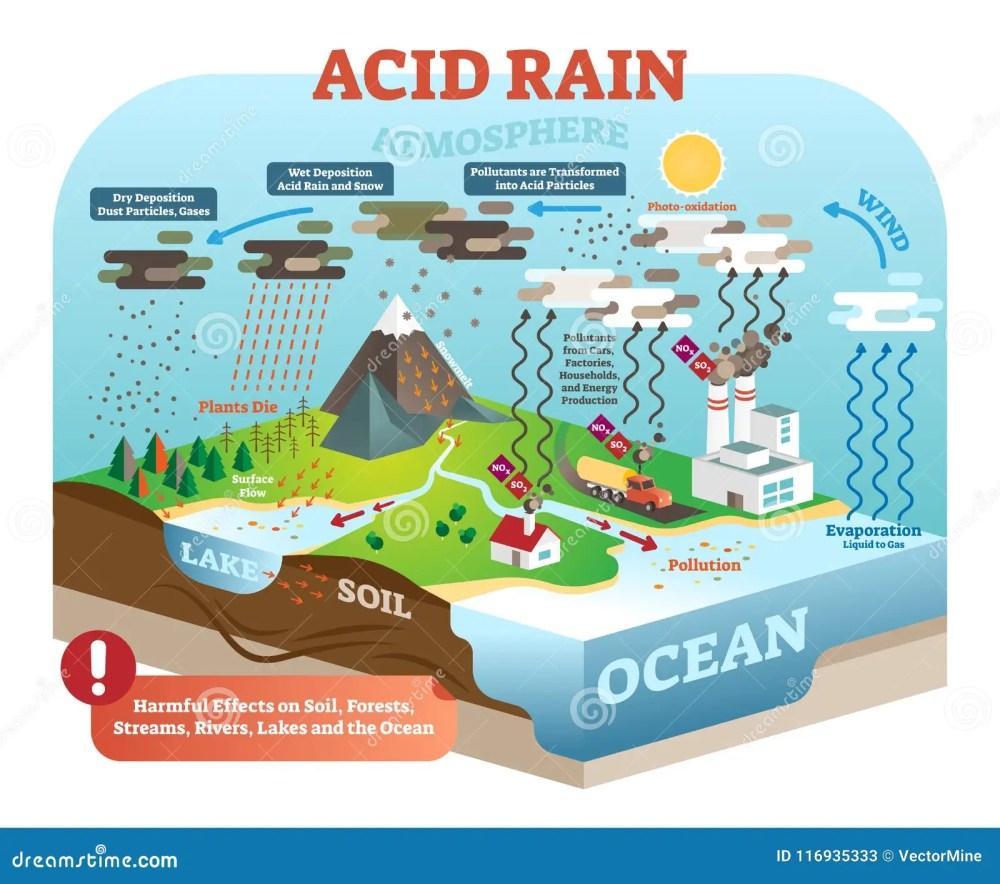 medium resolution of acid rain cycle in nature ecosystem isometric infographic scene diagram of acid rain cycle