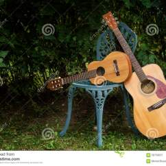 Classical Guitar Chair Gray Recliner With Ottoman Acoustic And Guitalele Stock Image Of