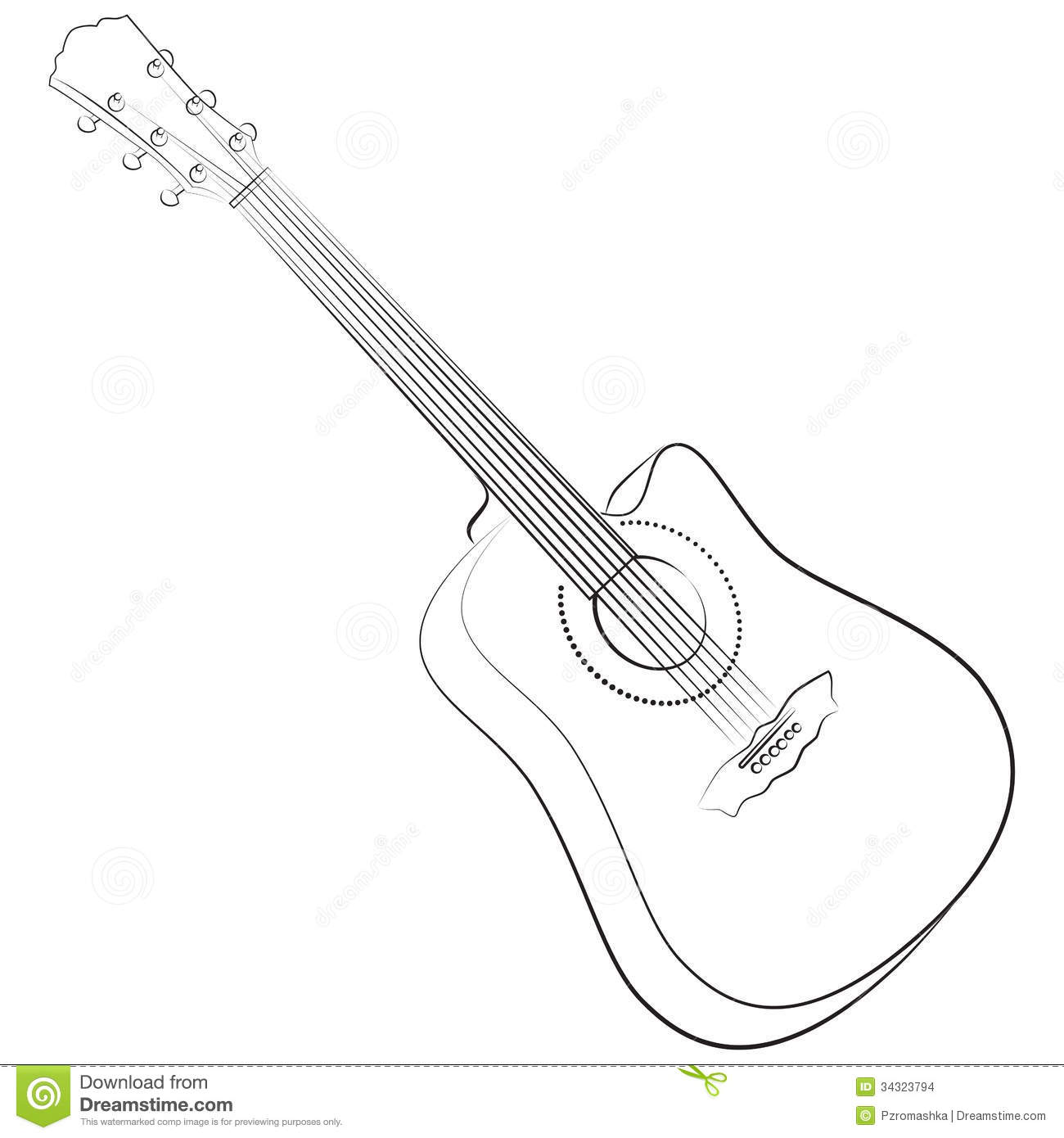 Acoustic Guitar Vector Illustration Colorless Stock