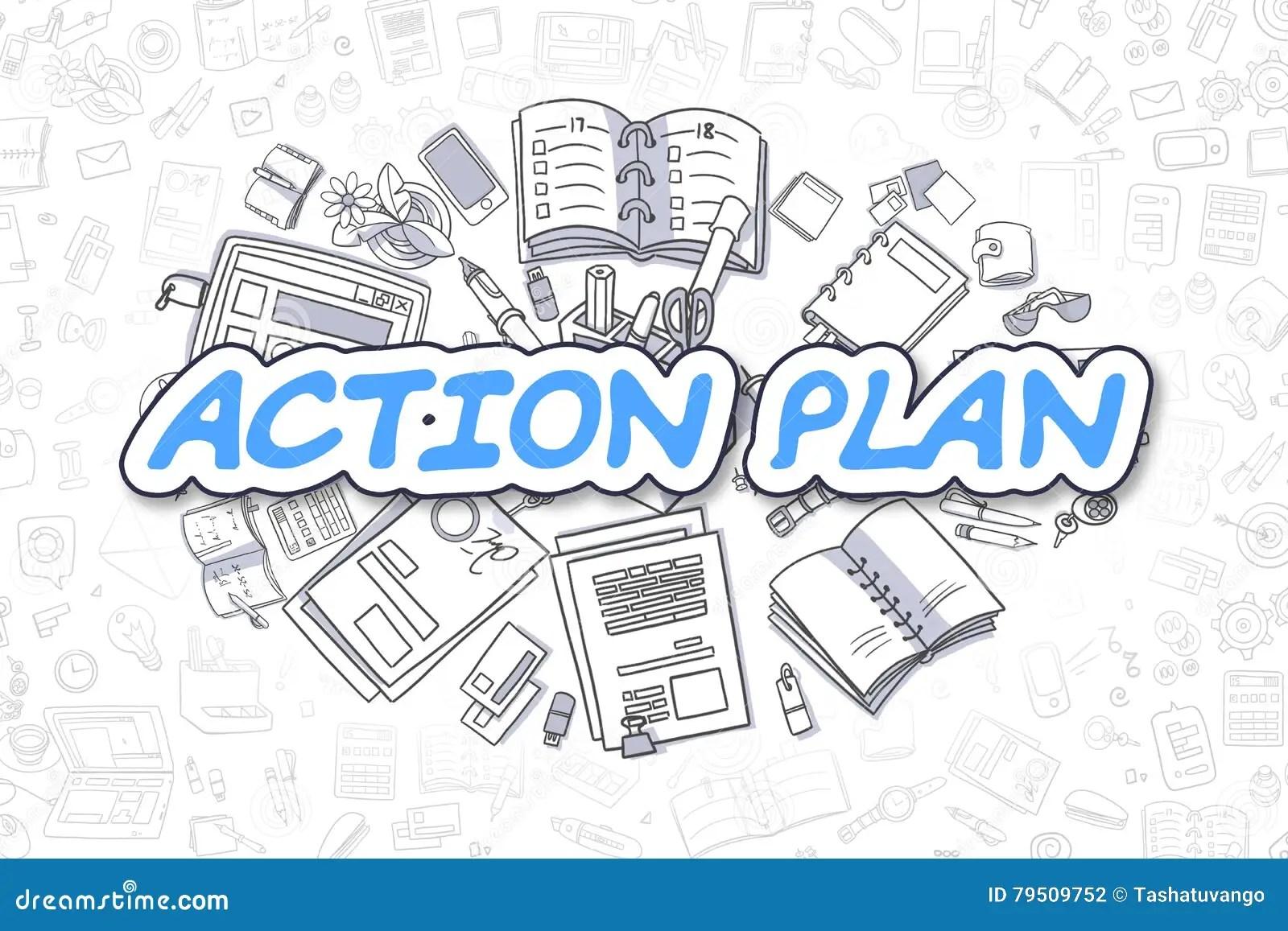 Download Action Plan - Cartoon Blue Word. Business Concept. Stock  Illustration - Illustration Of
