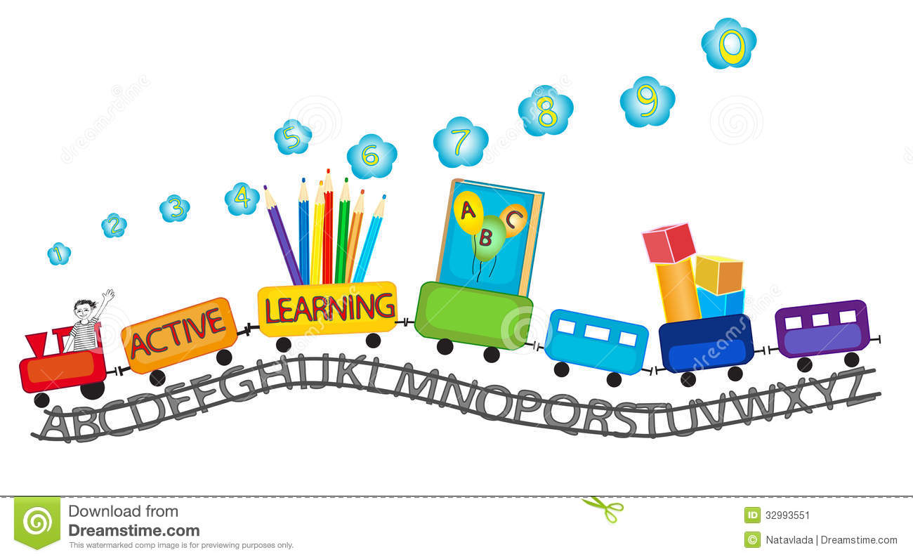 Active Learning For Preschool Kids Colorful Train Stock Vector