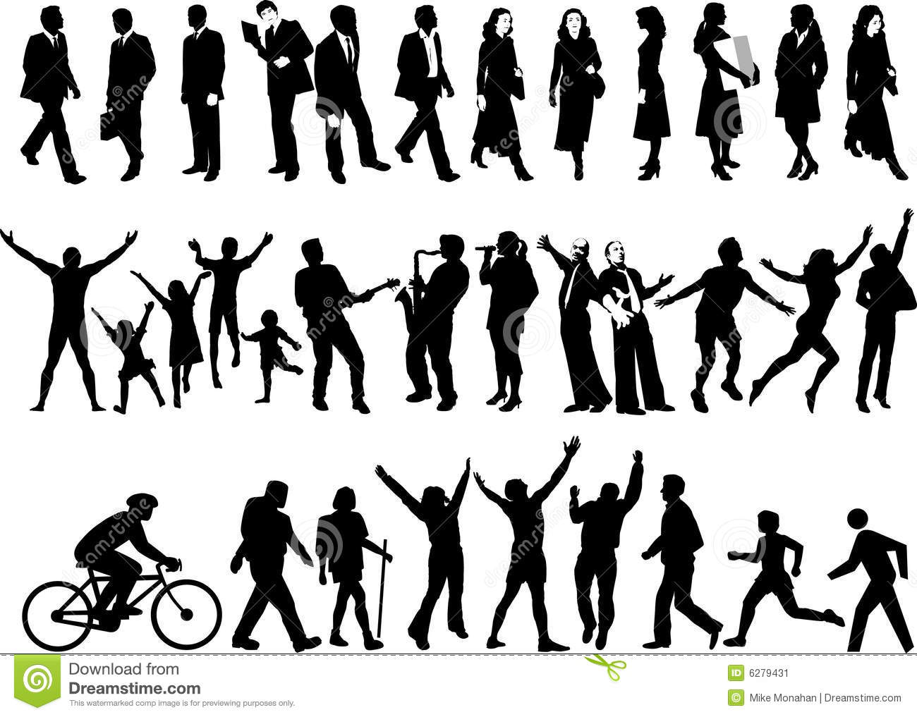 Active People Silhouettes Stock Vector Illustration Of