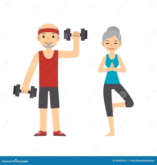 Active Senior Couple Stock Vector. Illustration Of Female