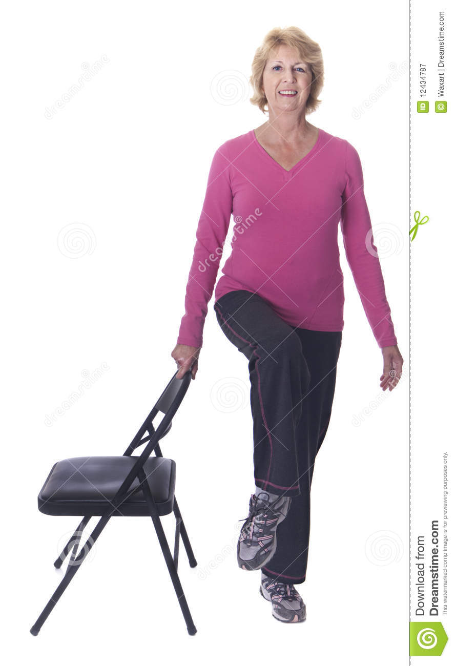 Chair Exercise Active Senior Woman Doing Chair Exercise Stock Image Image Of