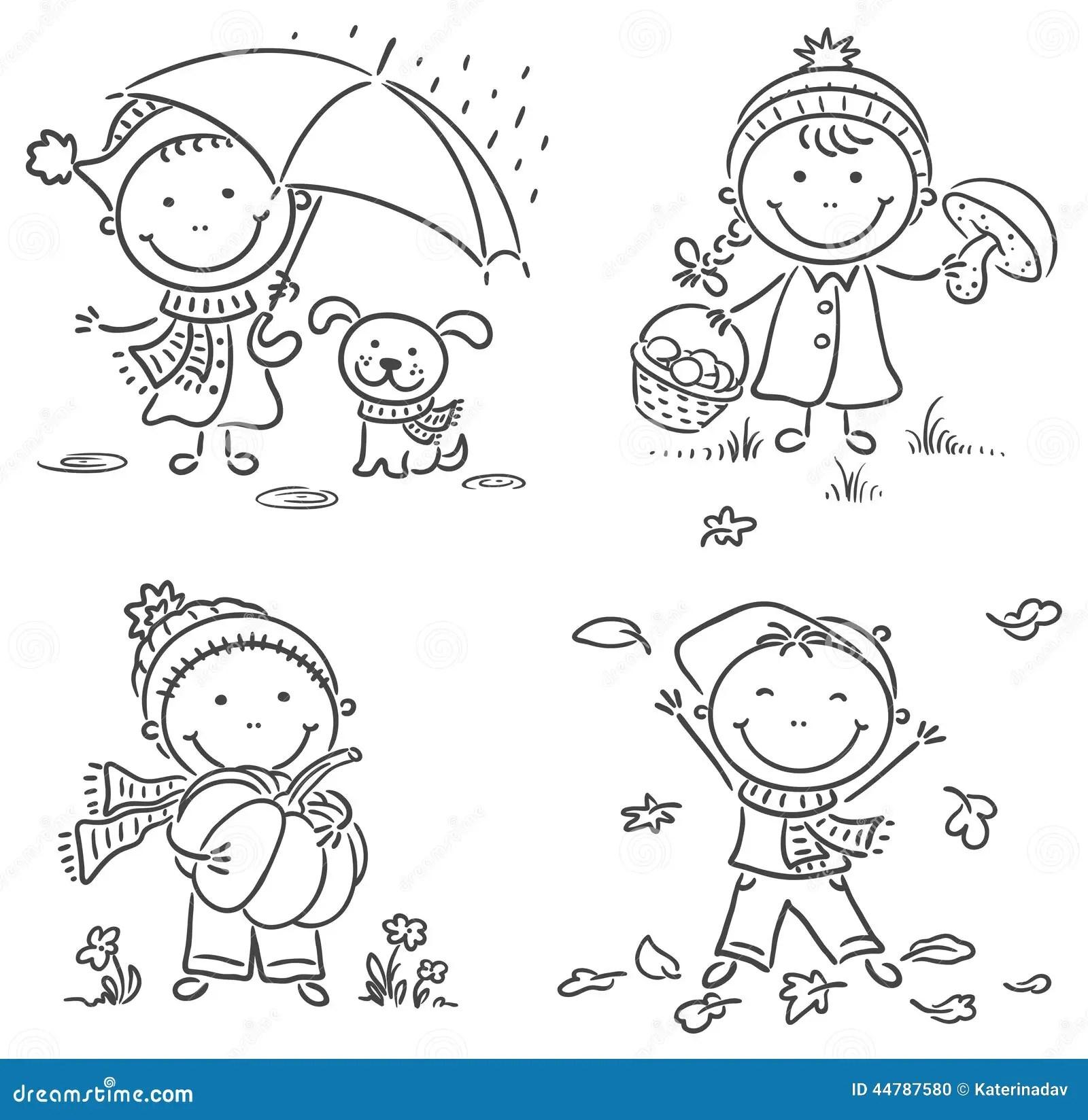 Actividades Del Otono De Los Ninos Ilustracion Del Vector