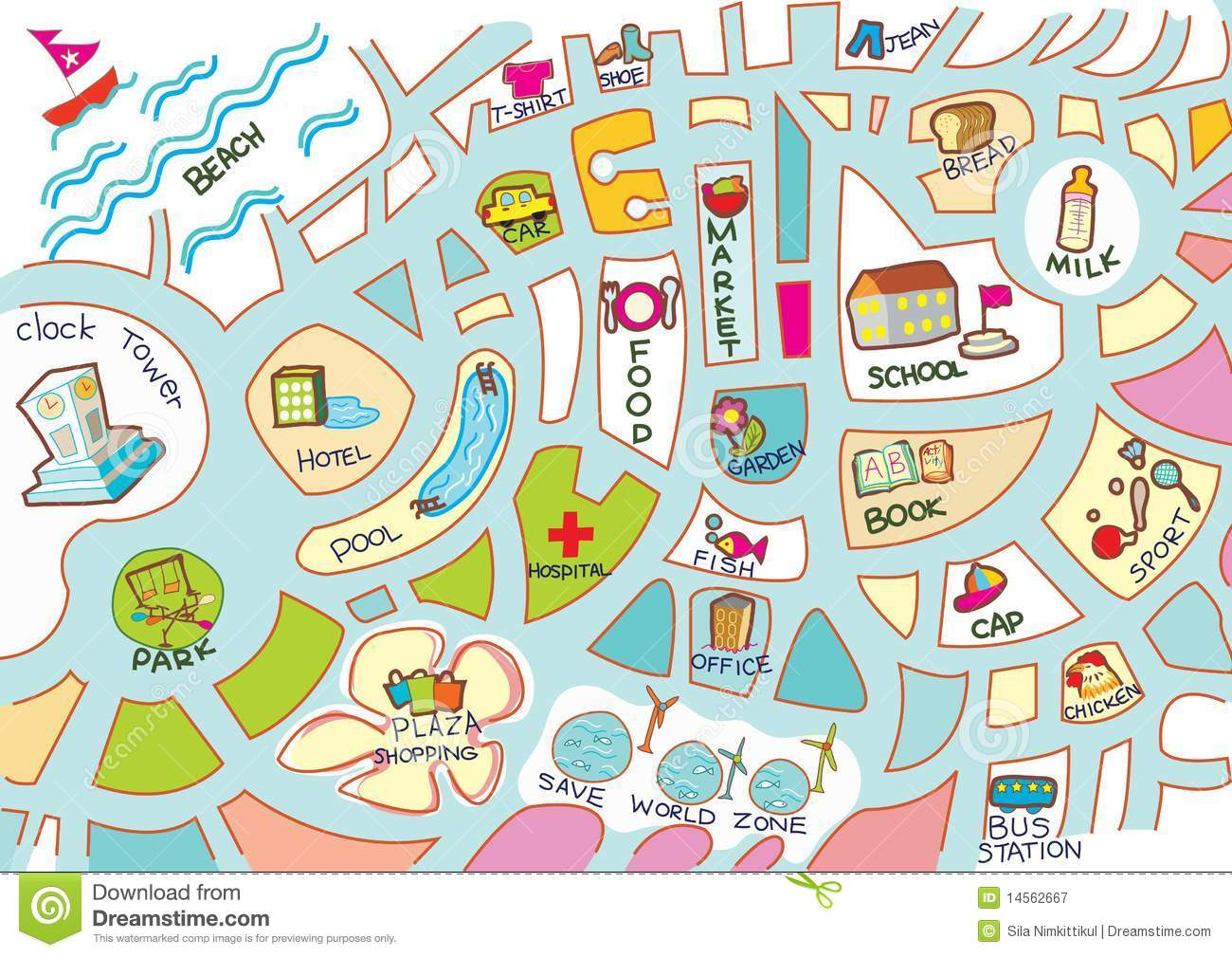 Activities Map For Kids Stock Vector Image Of Hotel