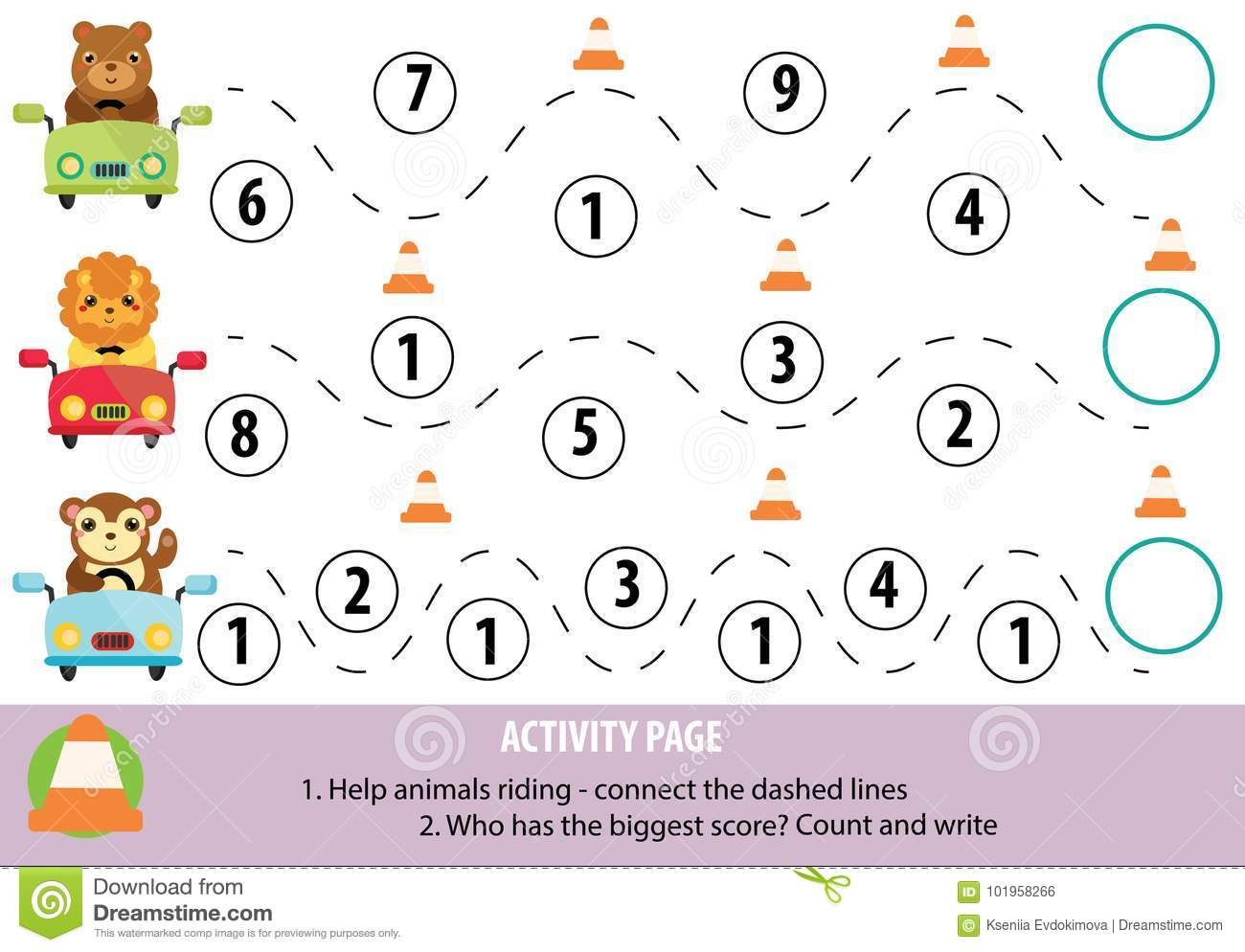 Activity Page For Children Handwriting Practice And Mathematics Educational Game Printable