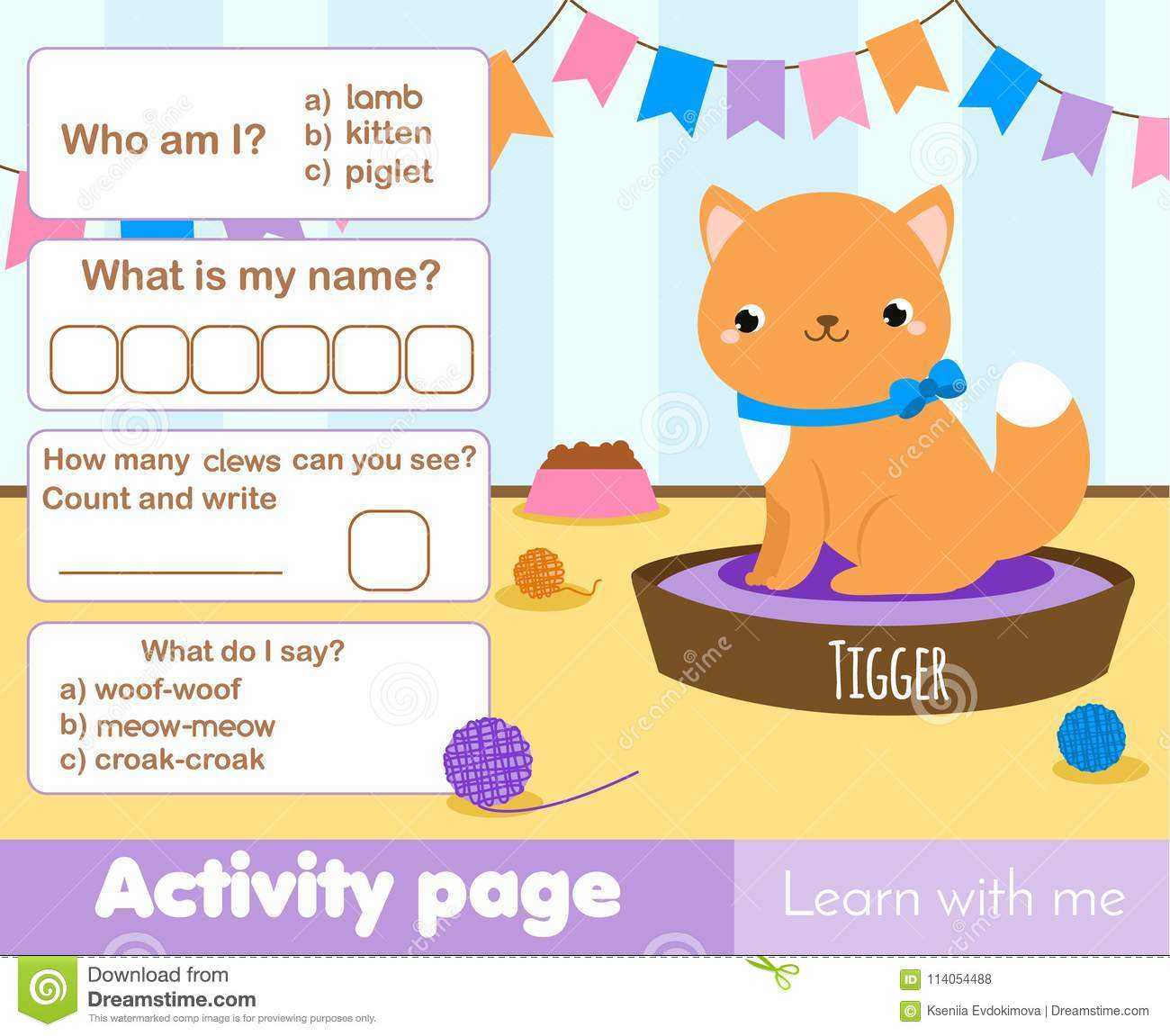 Activity Page For Kids With Cute Kitten Pet Educational