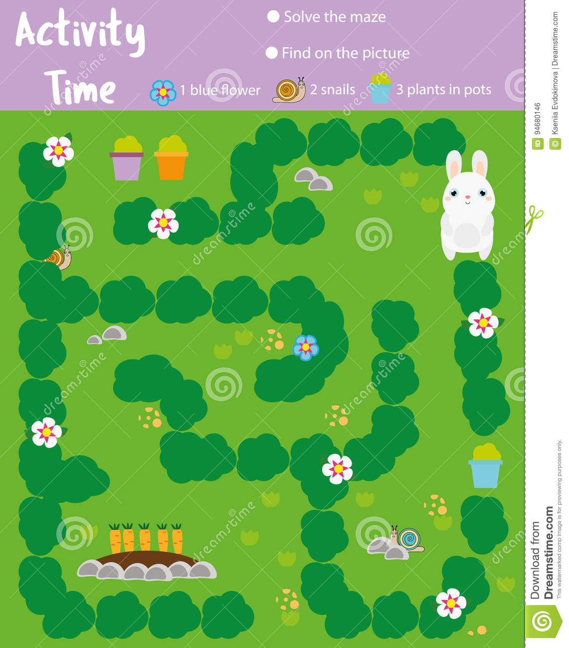 Activity Page For Kids Educational Game Maze And Find