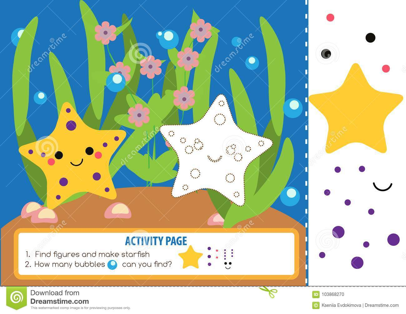Activity Page For Kids With Starfishes Educational