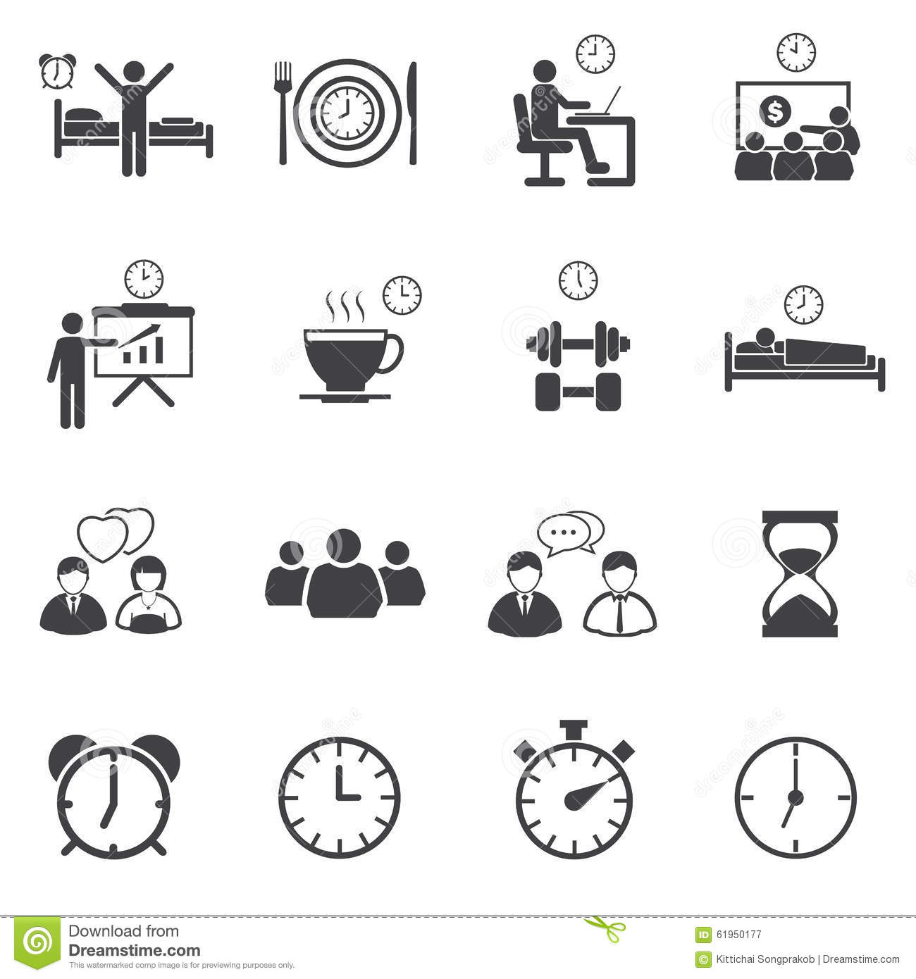 Activity Daily Routine Icons Set Stock Photo