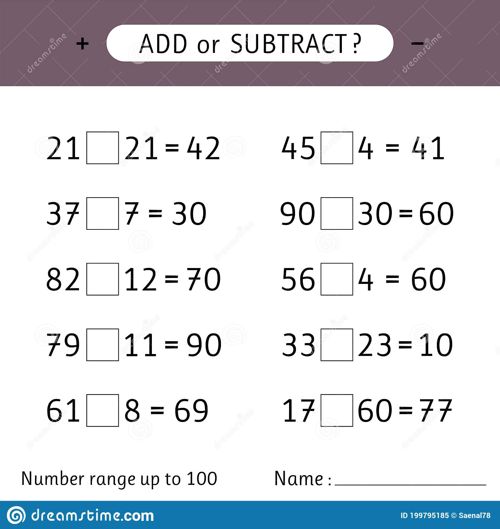 hight resolution of Add Or Subtract. Number Range Up To 100. Addition And Subtraction. Worksheet  For Kids. Mathematical Exercises Stock Vector - Illustration of game