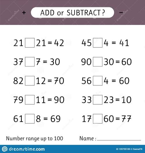 small resolution of Add Or Subtract. Number Range Up To 100. Addition And Subtraction. Worksheet  For Kids. Mathematical Exercises Stock Vector - Illustration of game