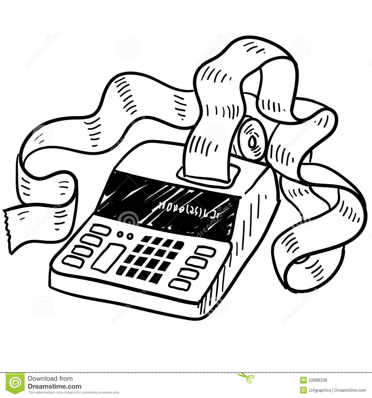 Adding machine sketch stock illustration. Illustration of