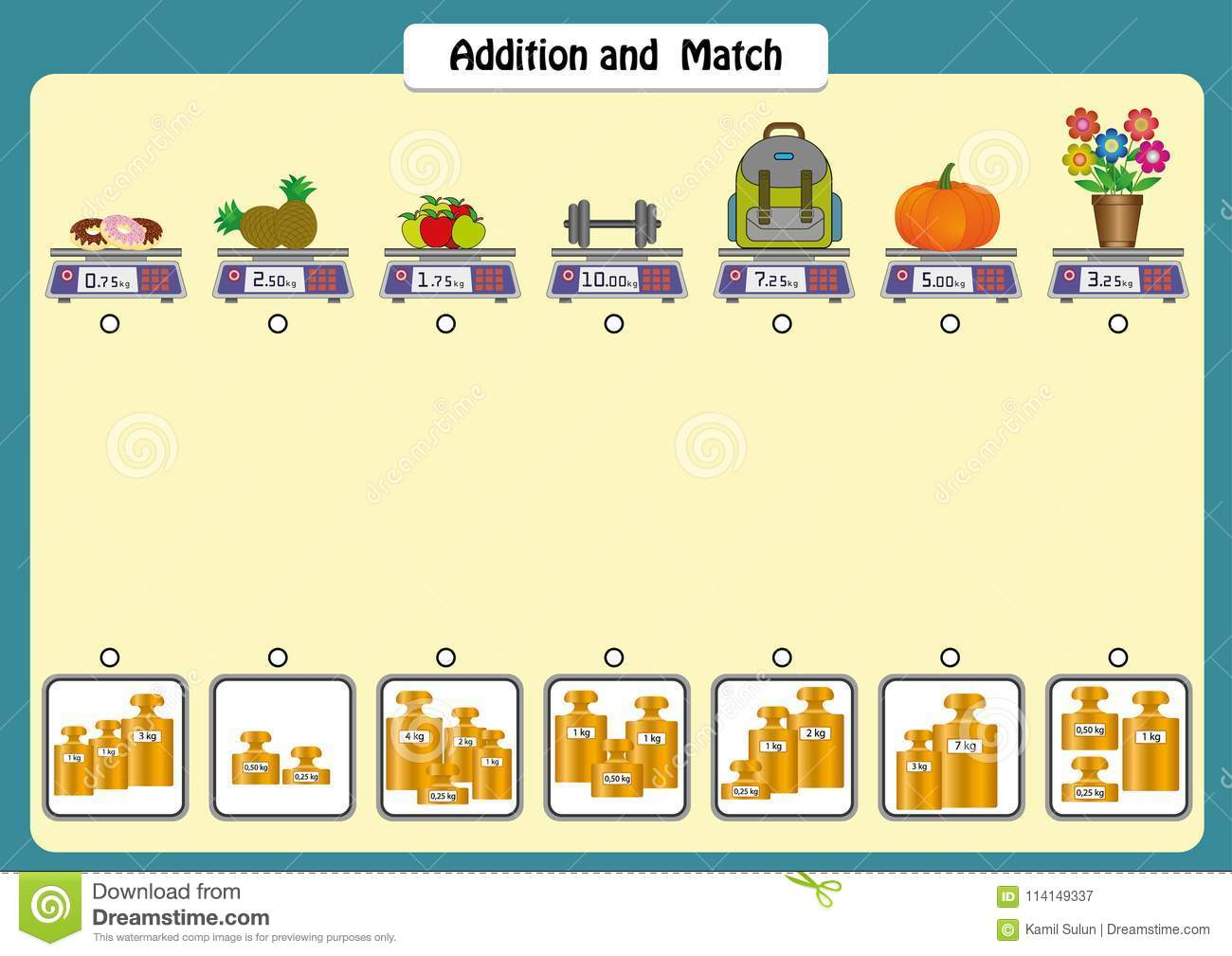 Addition And Match The Weights Of Objects Math Worksheets For Kids Scales And Weights Stock