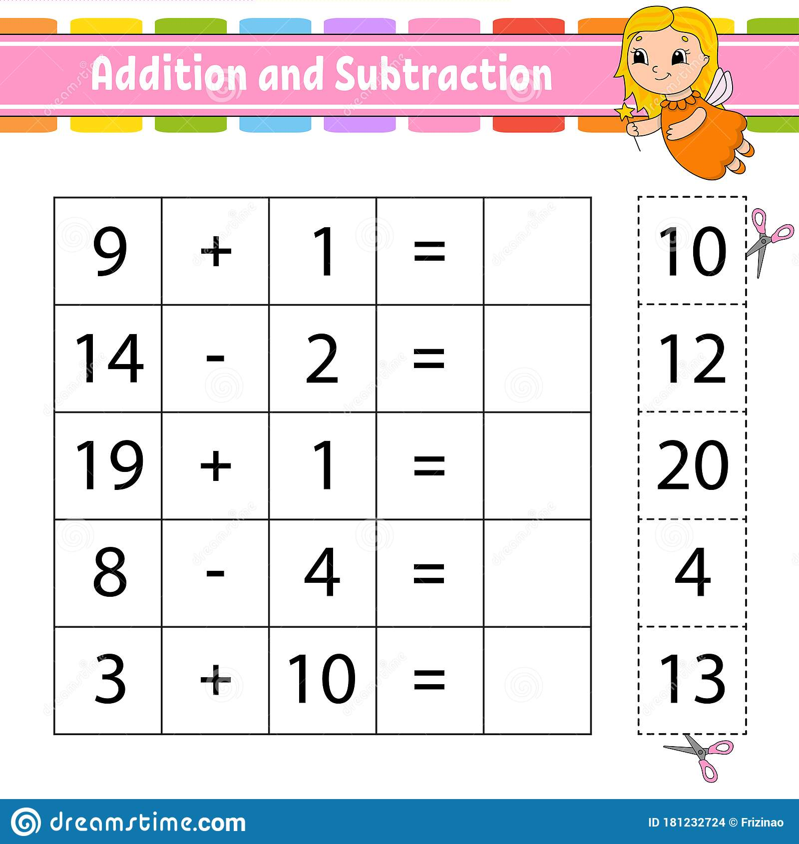 Addition And Subtraction Task For Kids Cut And Paste