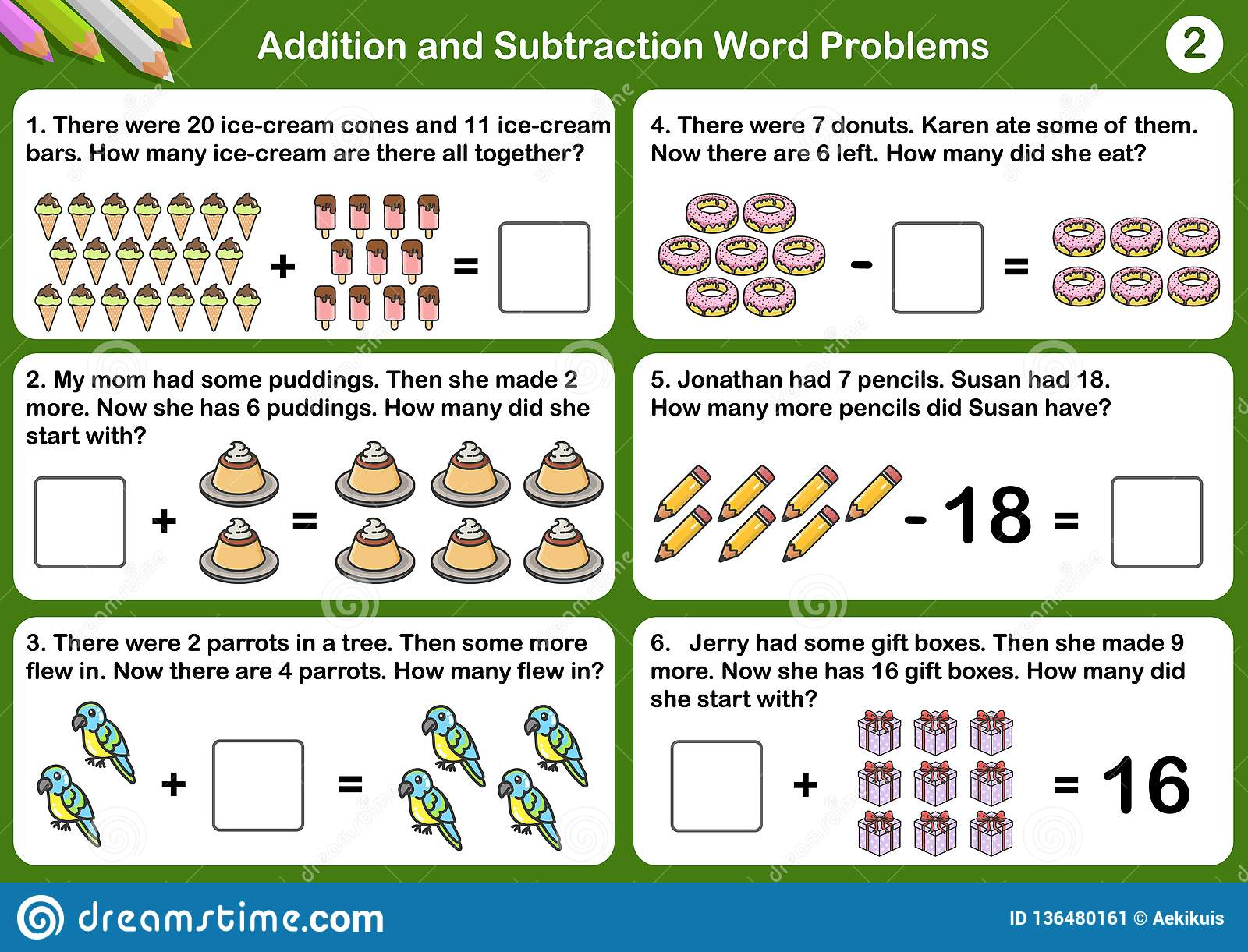 Addition And Subtraction Word Problems Stock Vector