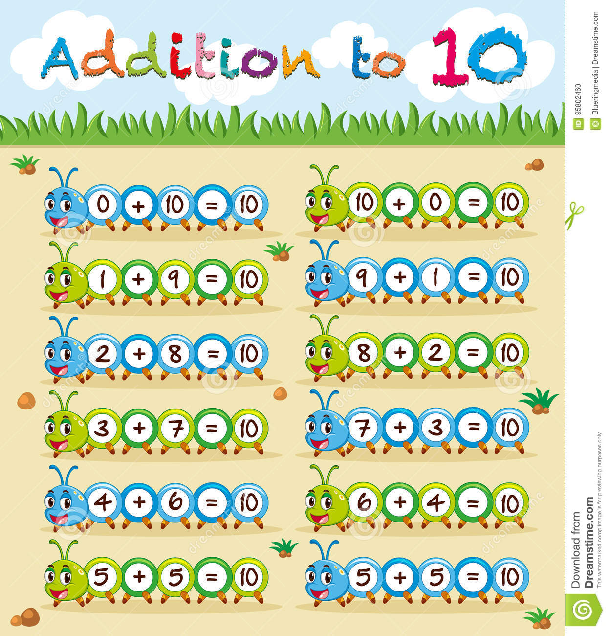 Addition To Ten Worksheet With Caterpillar Stock Vector