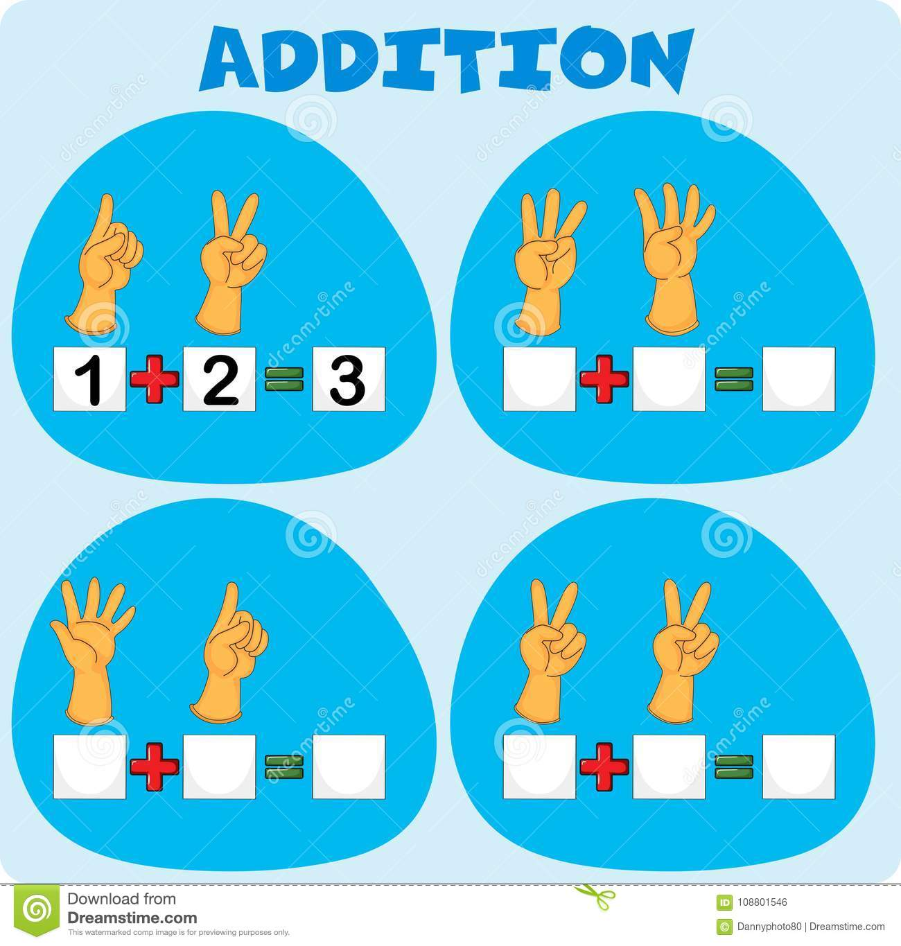 Addition Worksheet With Fingers Stock Vector